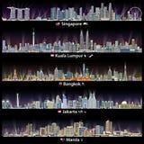 Abstrakcjonistyczne wektorowe ilustracje i flaga Singapur, Kuala Lumpur, Bangkok, Dżakarta i Manila linie horyzontu przy nocą z m royalty ilustracja