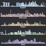 Abstrakcjonistyczne wektorowe ilustracje Singapur, Kuala Lumpur, Bangkok, Dżakarta i Manila linie horyzontu przy nocą w różnej ko ilustracji