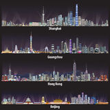 Abstrakcjonistyczne wektorowe ilustracje Szanghaj, Guangzhou, Hong Kong i Pekin linie horyzontu przy nocą, ilustracja wektor
