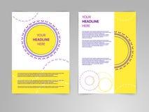 Abstrakcjonistyczne wektorowe ulotki s broszurki projektują szablon w siza a4 z round ornamentacyjną ramą Obraz Stock