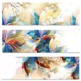 Abstrakcjonistyczne wizytówki ustawiać w kwiecistym stylu Obraz Stock