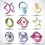 Abstrakcjonistyczne współczesnego stylu ikony, wektorów projekty ustawiają, 3d round Zdjęcie Royalty Free