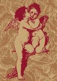 abstrakcjonistycznego aniołów tła kwiecisty s valentin Obrazy Royalty Free
