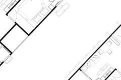Abstrakcjonistycznego architektura domu układu podłogowy plan na białym tle z kopii przestrzenią, Obraz Royalty Free