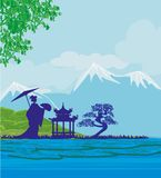 Abstrakcjonistycznego azjata Krajobrazowa i piękna Azjatycka dziewczyna ilustracja wektor