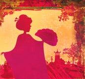 Abstrakcjonistycznego azjata Krajobrazowa i piękna gejsza royalty ilustracja