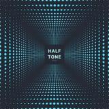 Abstrakcjonistycznego błękitnego koloru halftone izbowy perspektywiczny ciemny tło i tekstura ilustracja wektor