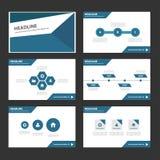 Abstrakcjonistycznego Błękitnego wieloboka infographic element i ikony prezentaci szablonów płaski projekt ustawiamy dla broszurk Obrazy Stock