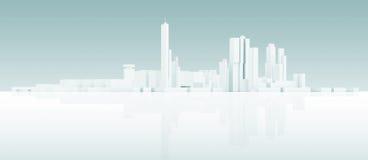 Abstrakcjonistycznego bielu 3 d pejzażu miejskiego nowożytna linia horyzontu ilustracji