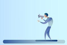 Abstrakcjonistycznego Biznesowego mężczyzna chwyta megafonu głośnika Cyfrowego Marketingowy pojęcie Zdjęcia Royalty Free