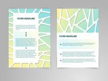 Abstrakcjonistycznego broszurki ulotki projekta wektorowy szablon w A4 rozmiarze z 3D papieru grafika ilustracji