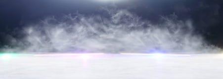 Abstrakcjonistycznego ciemnego koncentrata pod?ogowa scena z mg??, mg?a, ?wiat?o reflektor?w lub pokaz, sztandar obrazy royalty free