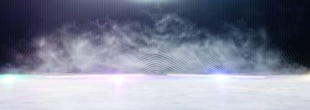 Abstrakcjonistycznego ciemnego koncentrata pod?ogowa scena z mg??, mg?a, ?wiat?o reflektor?w lub pokaz, sztandar zdjęcie stock