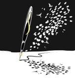 abstrakcjonistycznego czarny pióra biały writing Zdjęcie Stock