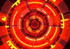 Abstrakcjonistycznego czerwonego okręgu obwodu technologii władzy energii światła projekta tła nowożytny futurystyczny wektor Obraz Royalty Free