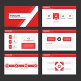 Abstrakcjonistycznego Czerwonego wieloboka infographic element i ikony prezentaci szablonów płaski projekt ustawiamy dla broszurk Obraz Stock