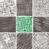 Abstrakcjonistycznego doodle bezszwowi wzory ustawiający Fotografia Royalty Free