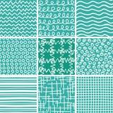 Abstrakcjonistycznego doodle bezszwowi wzory ustawiający Zdjęcie Stock