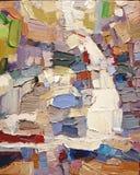 Abstrakcjonistycznego ekspresjonizmu cwelich barwi akrylowego obraz olejnego Zdjęcie Stock
