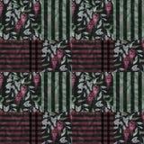 Abstrakcjonistycznego elegancja patchworku bezszwowy wzór z czerwonym glicinia f royalty ilustracja
