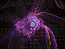 Abstrakcjonistycznego fractal cyfrowego futurystycznego projekta pojęcia nowożytni chaosy projektują magiczną lekkiej energii twó ilustracja wektor