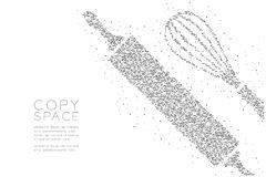 Abstrakcjonistycznego Geometrycznego okrąg kropki piksla wzoru Toczna szpilka i śmignięcie kształtujemy, piekarni pojęcia projekt ilustracja wektor
