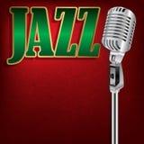 Abstrakcjonistycznego grunge muzyczny tło z słowo jazzem na czerwieni Obraz Royalty Free