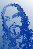 Abstrakcjonistycznego jezus chrystus boczna twarz w błękitnego koloru tonalnym ocienionym tle, wektorowa ilustracja ilustracji