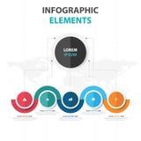 Abstrakcjonistycznego kolorowego okręgu Infographics biznesowi elementy, prezentacja szablonu płaskiego projekta wektorowa ilustr Obraz Stock