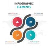 Abstrakcjonistycznego kolorowego okręgu kwadrata Infographics biznesowi elementy, prezentacja szablonu płaskiego projekta wektoro Obrazy Royalty Free