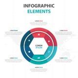 Abstrakcjonistycznego kolorowego okręgu sześciokąta Infographics biznesowi elementy, prezentacja szablonu płaskiego projekta wekt Obrazy Royalty Free