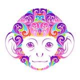 Abstrakcjonistycznego kolorowego ozdobnego małpiego Dekoracyjnego śmiesznego zwierzęcego twarz symbolu ikony projekta elementu We ilustracja wektor
