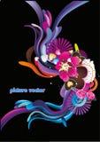 abstrakcjonistycznego koloru kwiecista wektoru fala ilustracji