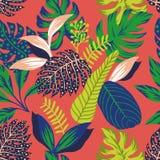 Abstrakcjonistycznego koloru tropikalni liście bezszwowi ilustracja wektor