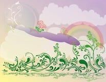 abstrakcjonistycznego kwiatu ilustracyjna landsca wiosna royalty ilustracja