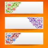 Abstrakcjonistycznego kwiatu ornamentacyjni horyzontalni sztandary Obraz Royalty Free