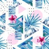 Abstrakcjonistycznego lata geometryczny tło z egzotycznym kwiatem i liśćmi Obraz Stock