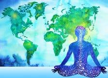 Abstrakcjonistycznego ludzkiego meditator chakra władzy światowej mapy wszechrzeczy tło Zdjęcie Stock