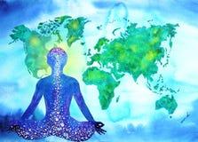 Abstrakcjonistycznego ludzkiego meditator chakra władzy światowej mapy wszechrzeczy tło Zdjęcia Royalty Free