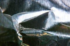 Abstrakcjonistycznego makro- tła metalu zmięta folia Zdjęcie Royalty Free