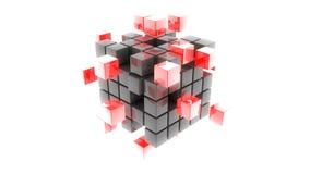 abstrakcjonistycznego metalu sześcianów 3d czerwona ilustracja ilustracja wektor