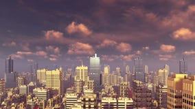 Abstrakcjonistycznego miasta w centrum drapacze chmur przy zmierzchem 4K royalty ilustracja