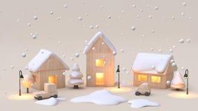 abstrakcjonistycznego minimalnego kremowego tła zimy nowego roku pojęcia drewna zabawki wioski kreskówki śnieżny styl 3d odpłaca  ilustracja wektor