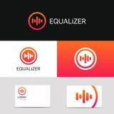 Abstrakcjonistycznego muzycznego głos ikony audio znaka firmy loga wektorowy projekt Zdjęcia Stock