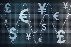 abstrakcjonistycznego niebieska tła gospodarczej światowej waluty ilustracja wektor