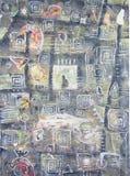 Abstrakcjonistycznego obrazu wysoki budynek z okno i sylwetką Fotografia Stock