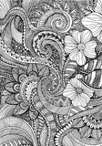 Abstrakcjonistycznego pociągany ręcznie obfitolistnego doodle bezszwowy wzór Fotografia Royalty Free
