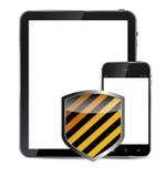 Abstrakcjonistycznego projekta realistyczny telefon komórkowy i pastylka Zdjęcia Royalty Free