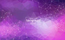 Abstrakcjonistycznego purpury światła tła Geometryczna Poligonalna molekuła i komunikacja Związane linie z kropkami Pojęcie nauka royalty ilustracja