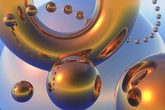 abstrakcjonistycznego składu latające złociste sfery Zdjęcia Stock